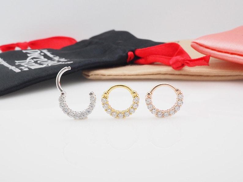 Eternity CZ diamond CLICKER hoop Daith earring  Cartilage  Septum ring  Nose ring