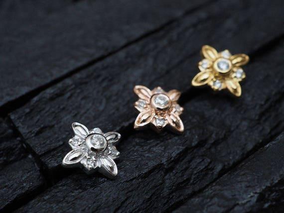 Triple CZ gems stone flower push in 16g bio flexible for conch  cartilage  helix earring