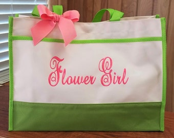 Flower Girl Tote Bag Personalized Flower Girl Bag Monogrammed Bag Monogram Gifts Junior Bridesmaid Bridal Party Gift