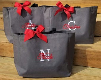 Set of 3 Bridesmaid Tote Bags Personalized Gifts Bridesmaids Gifts Wedding Bags