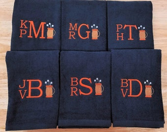 Set of 6 Personalized Golf Towels Groomsmen Gifts Tri-Fold Golf Towel Flat Golf Towel Monogram Monogrammed Sports Towels