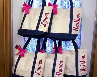 Set of 5 Bridesmaid Bag Personalized Bridesmaid Gifts Wedding Tote Bag Monogrammed Bags Bridesmaids Glitter Heat Vinyl