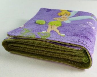 Kids Cash Envelope Wallet, Cash Budget Wallet -Tinker Bell Purple Lime- for use with the Dave Ramsey System- READY TO SHIP