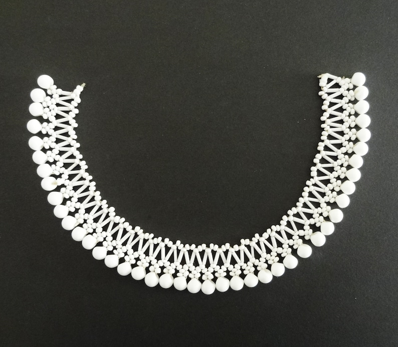 Wide Long Perfect for Embellishing a Round or Scoop Neckline 2.5 cm 1930s MILK GLASS BEADWORK 12 14 31 cm 1