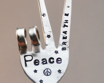 PEACE // BREATHE garden marker Peace Sign made from Silver Plate fork // Hand Stamped