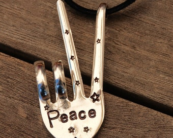 PEACE sign Ornament with LEATHER made from Vintage Fork ~ Hand Stamped PEACE with Stars