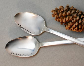 THANKFUL & GRATEFUL hand stamped SPOONS for Holiday table - Set of 2 - New Silver Plate. Serving Spoons. Large. Hostess gift. Home Decor