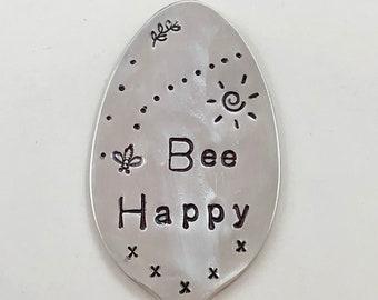 BEE HAPPY Garden Marker Spoon, Hand Stamped bee stamp, flower pot, herb Flat Spoon silver plate
