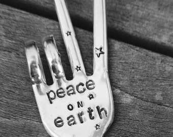 PEACE on EARTH ORNAMENT  Peace Sign Ornament with Stars made from Fork hung on Black Suede Leather  Holiday Ornament