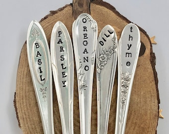 HERB MARKERS. Set of 5, Stamped Spoon handles. Silver Plate, Recycled Re-Purposed garden art, Garden Sign, Best Selling Items, Herb Label