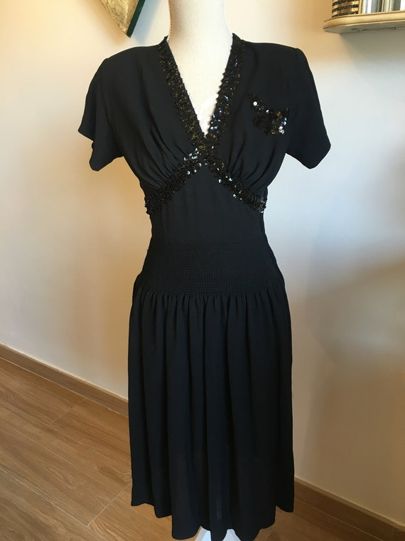 Vintage 1940's Black Crepe Sequined Tea Dress