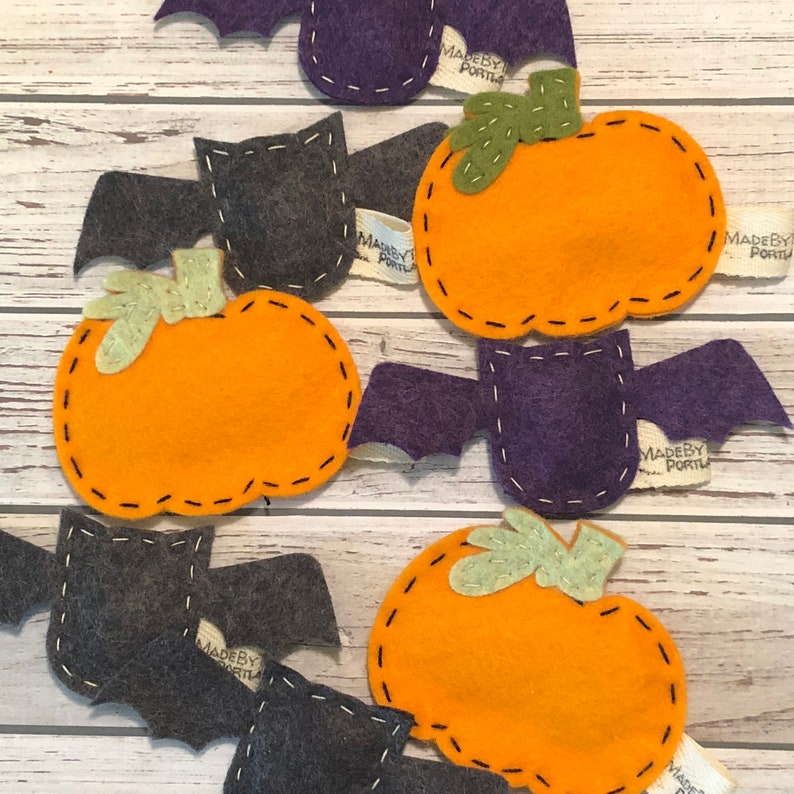 catnip cat toy   pumpkin  bat  wool felt image 0