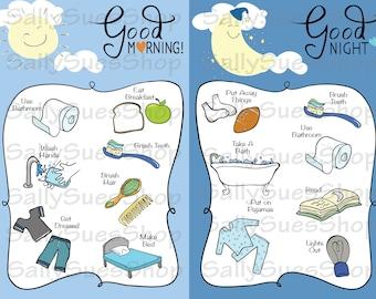 Morning and Evening 8x5x11/BOYS Double Chore Chart Blue/morning/evening/Checklist/reward chart/instant download/preschool/homeschool