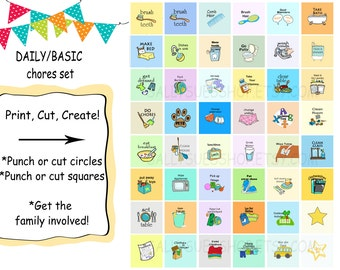 DAILY CHORES, Printable chores/digital collage/1 inch download/DIY/instant download/bottle cap prints
