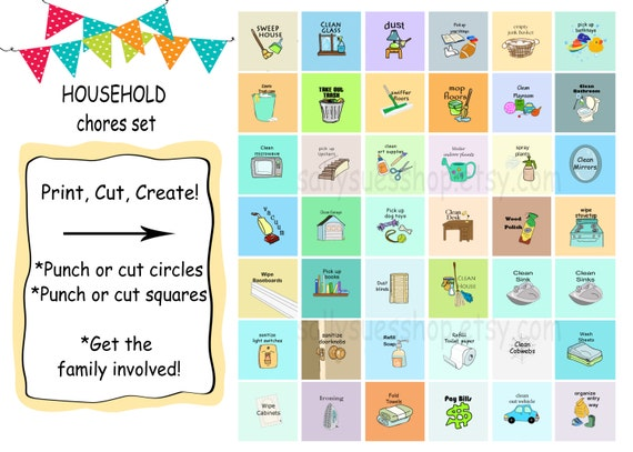 household chores printable chores digital collage 1 etsy