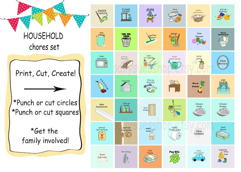graphic regarding Chores Printable named Family members CHORES, Printable chores/electronic collage/1 inch/Do it yourself/fast obtain/bottle cap prints