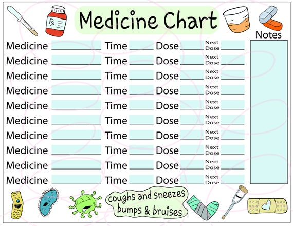 medicine tracker sheet cute keep the fun medicine etsy
