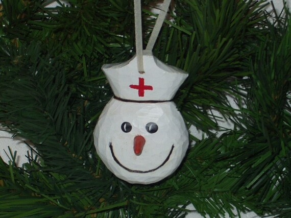 Hand carved wooden christmas ornament nurse etsy
