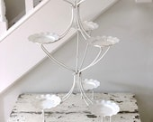 Mid Century Metal Plant Stand White Tiered