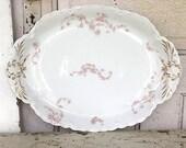 Vintage Platter Large White Pink Roses Haviland Limoges France China Platter