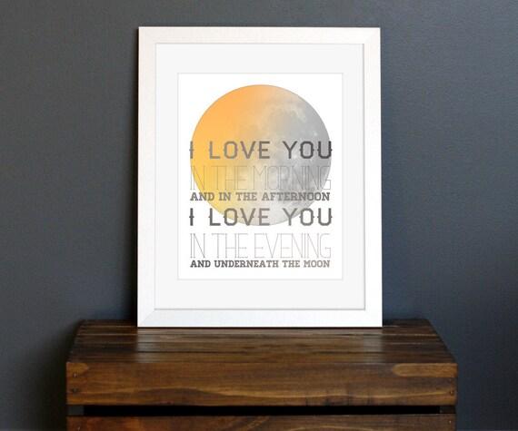 Sun and Moon Art Print - I Love You, 1980s Skinnamarink Song Lyrics - love  gift, wall decor, nursery, kid's room - 8 x 10