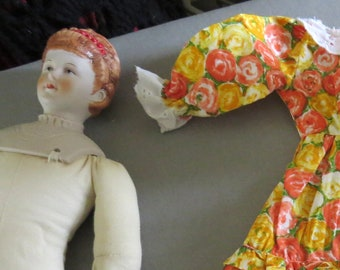 "15"" Vintage Doll with Clothes, Porcelain China Head, Cloth Torso, Dress and Nightgown, Ceramic Legs, Arms, Damaged Ankle"