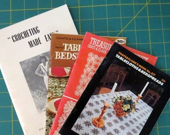 Vintage Crochet and Knit Booklet Lot, Tablecloths Bedspreads Placemats, Coats & Clark, Magda Gordon Needlework Patterns - Instant Collection