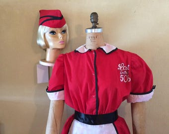 18d69ebee60e Large, XLarge, Retro Waitress, RED WHITE 50's, 60's Car Hop, Diner Drive In  Uniform, Halloween Costume, Theme Party