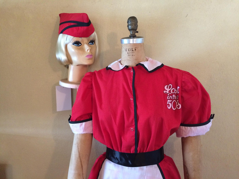 df18ee90b11b Large XLarge Retro Waitress RED WHITE 50's 60's | Etsy