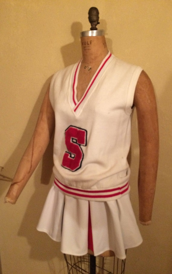 Vintage 2 Piece Adult Cheerleader Uniform. Black, Red and White Retro Costume