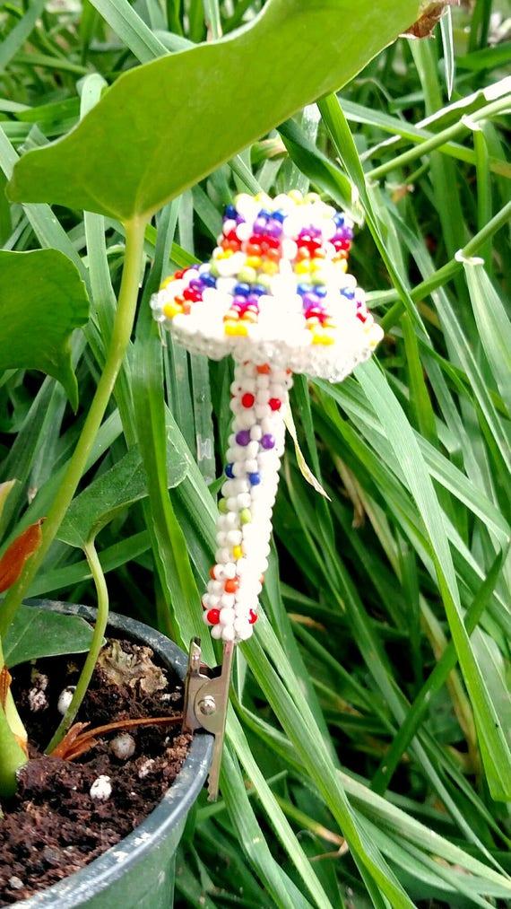 Plant Decor White Mushroom Garden Decoration Magic Etsy