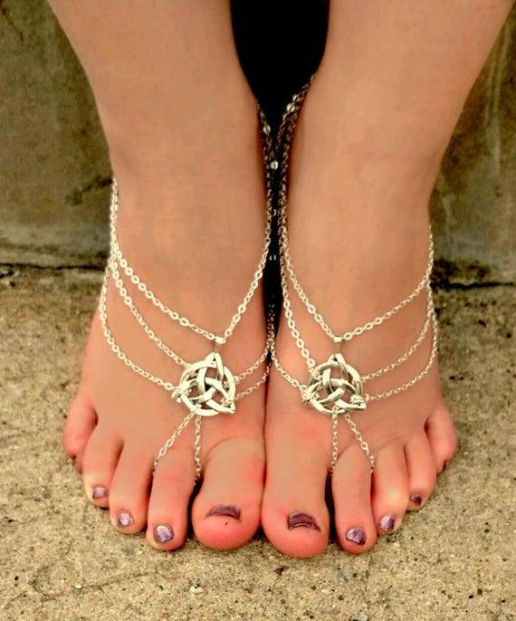Argent sandales aux pieds nus, sandales Bohème, bijoux noeud celtique, Soleless sandales, sandales sans fond, mariée aux pieds nus, les enfants, bijoux de pied
