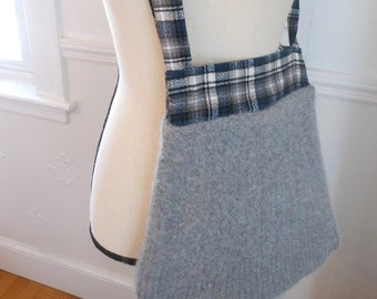 Felted wool and blue plaid flannel messenger bag