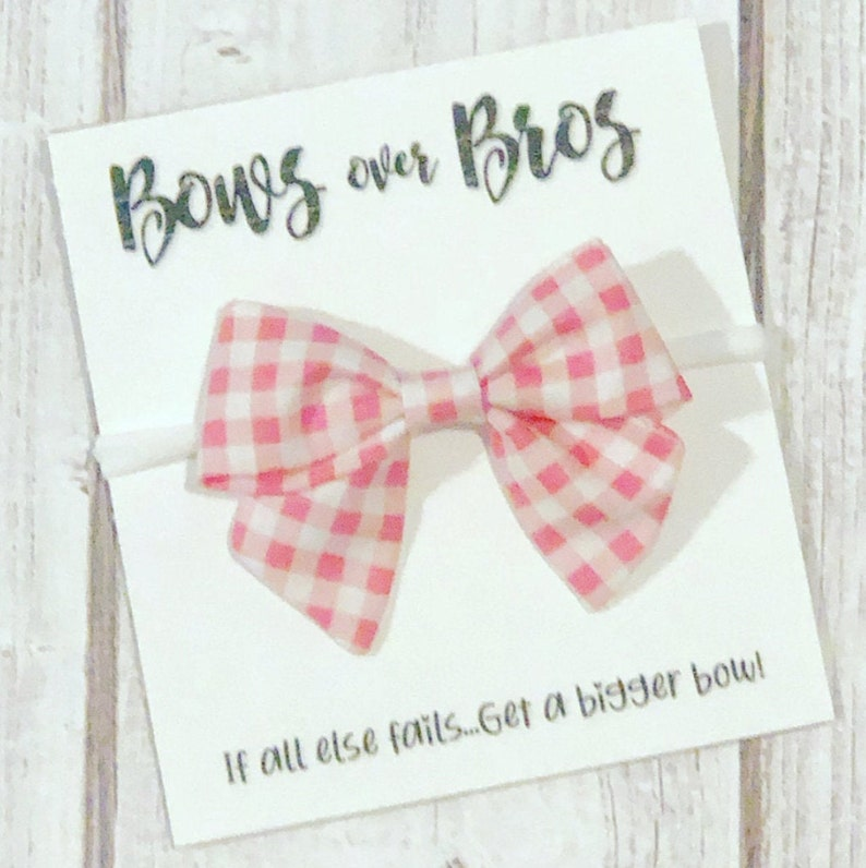 Baby Girl Headband Baby Girl Headband Fabric Bow Plaid Bow Pink Sailor Bows Baby Head Bow Sailor Bows Pink Plaid Sailor Bow Headband
