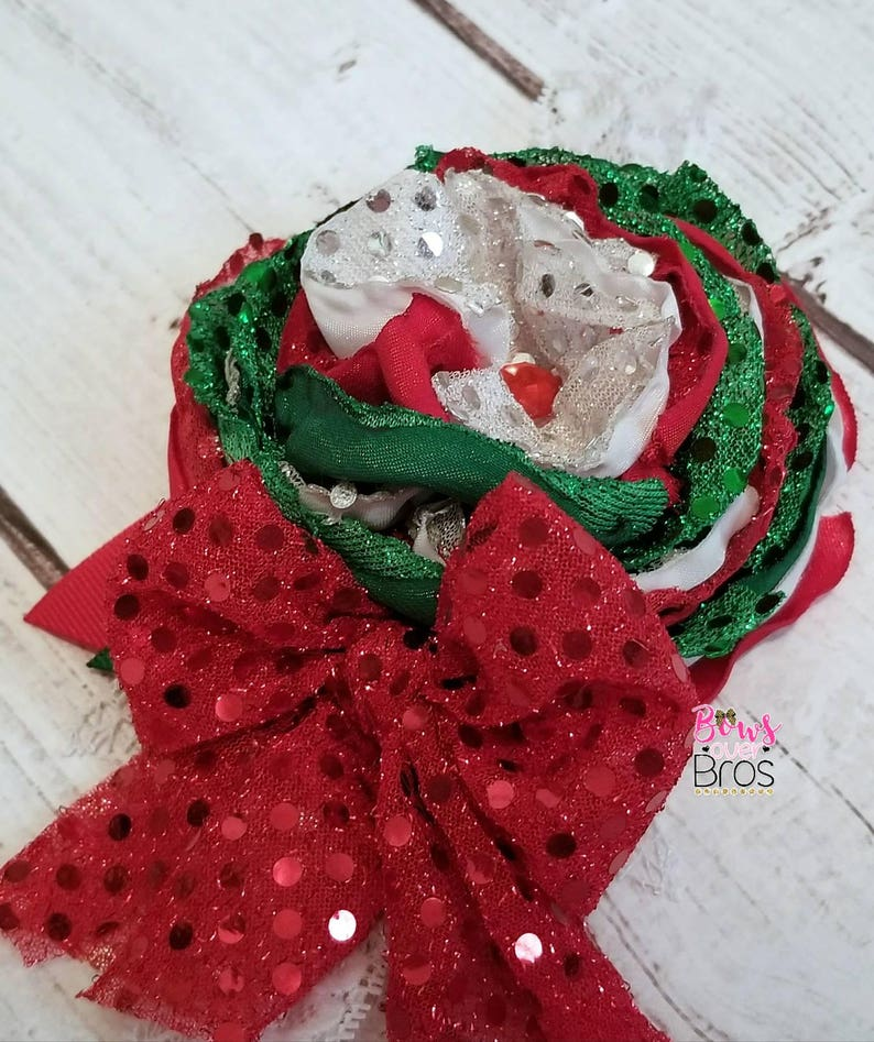 Christmas Couture Headband Christmas Headband Layered Boutique Headband Holiday Headband Satin Boutique Headband Layered Satin Headband