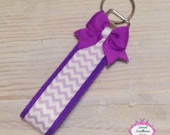 Purple Chevron Wristlet - Key Fob - Key Chain