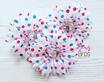 Patriotic Flower Hair Clip, 4th of July Hair Bow, Flower Bow, Flower Hair Clip, 4th of July Hair Flower, Flower hair Accessory, Hair Bow