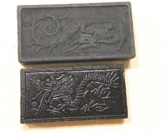 37 pcs Dragon Dominoes Embossed  Black Color Wood 2 Sizes-Designs Destash Craft Upcycle Altered Art Collage Scrapbooking
