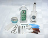 Vintage Vanity Lot Laco Shampoo Camille Bay Rum Glass Bottles-Aqua Cream Jar-Nail Care Germany Austria -C