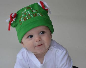 0f3542186a2 Babys First Christmas Beanie CHOOSE COLOR Green or Red Baby Knit Hat Baby  Gift Baby Christmas Hat Baby Hats Photo Prop Outer Wear Holiday