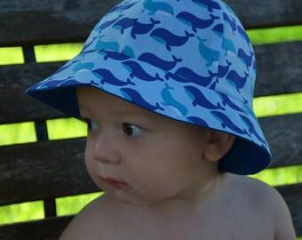 21ed38de9cc Sun Hat Kid s Whales Hats 2 in 1 Reversible Childrens Hats Baby s Hats Blue  Sun Hats Toddlers Hats Hat Bucket Hat Beach Hats Baby Beach Hat