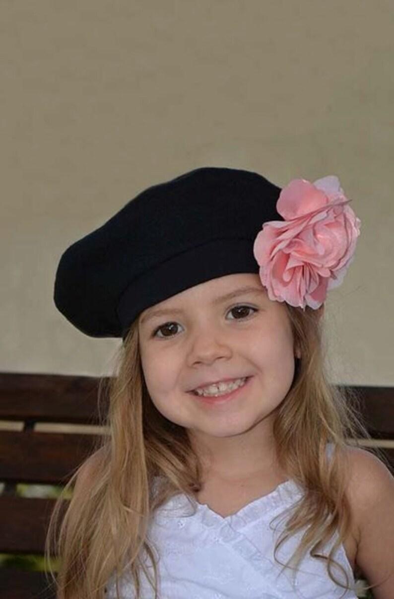 Niños boina francesa Black Hat para niñas flor Coral ropa  e6b8f4186a0