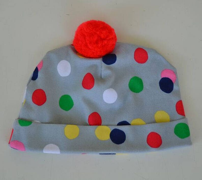 dc3b15fb6d2eb Gray Polka Dot Baby Beanie Red Pom Pom Baby Hat Colorful Hat Newborn to 6  Months Outer Wear Baby Shower Gift Photo Prop Newborn Kids Hats