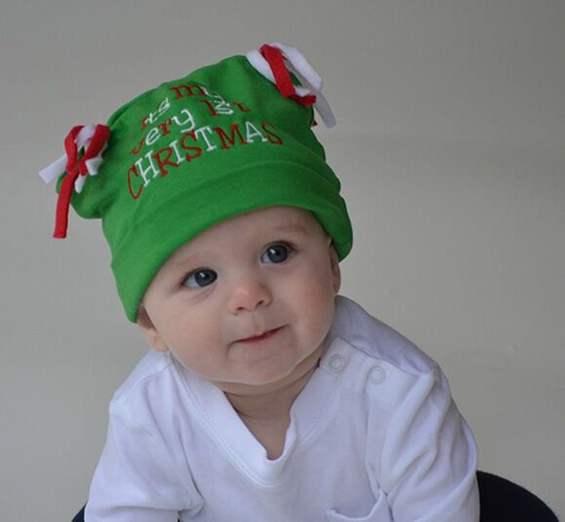 f7c72e5bec42c Babys First Christmas Beanie CHOOSE COLOR Green or Red Baby Knit Hat Baby  Gift Baby Christmas Hat Baby Hats Photo Prop Outer Wear Holiday