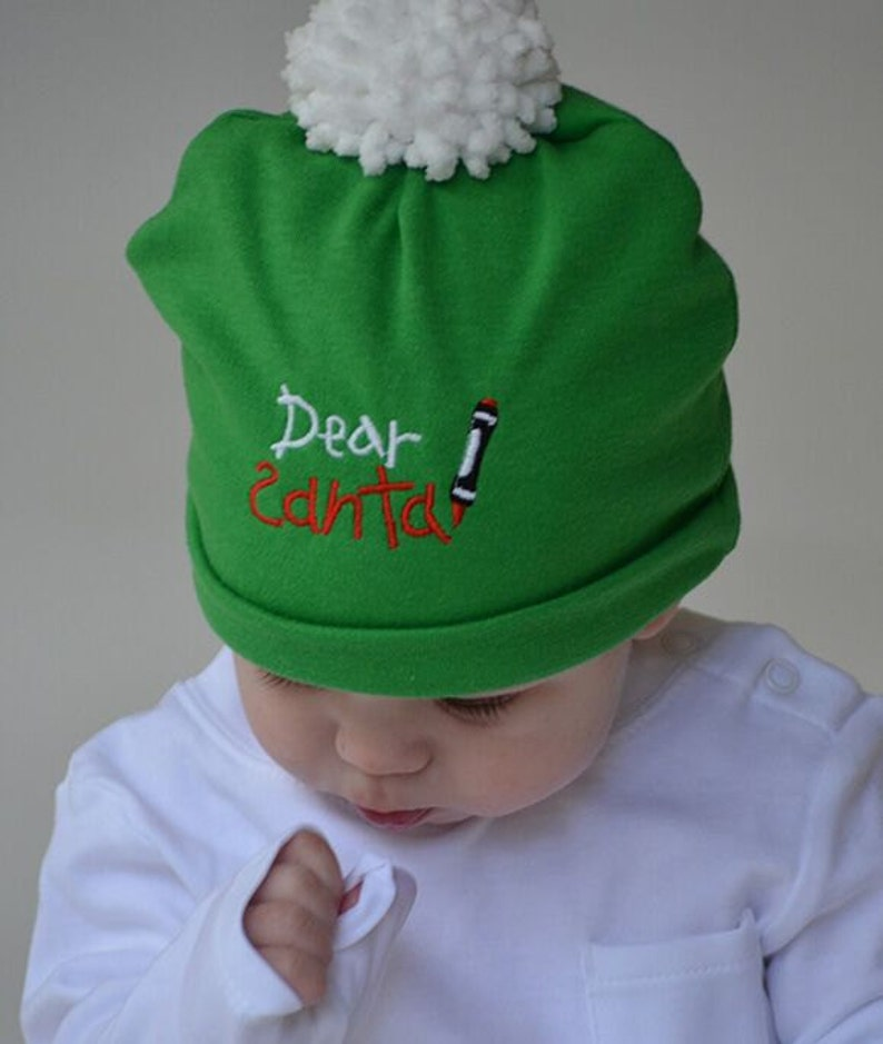 01832e1c2046e Baby Christmas Beanie Dear Santa CHOOSE COLOR Green or Red Knit Hat Baby  Gift Baby Christmas Hat Baby Hats Photo Prop Outer Wear Holiday