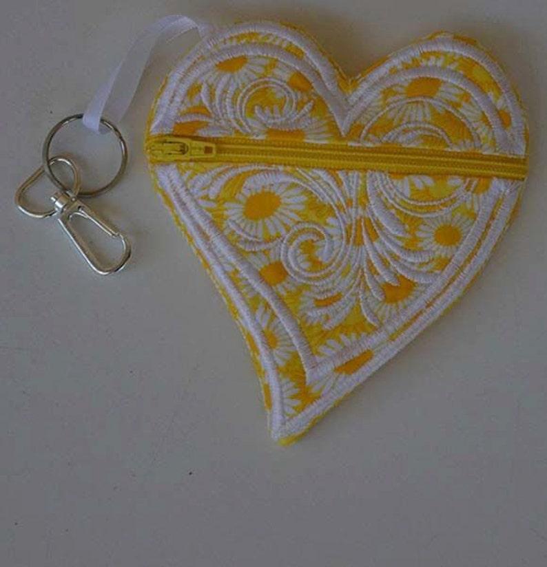Heart Coin Purse Yellow Heart Backpack Clip Purple Zipper Pouch Back To School Pocket Purse