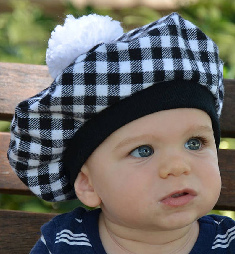 8bac5ee6a Kids French Beret/Tam with Pom Pom Flannel Black/White Plaid Scottish Tam  Winter Kids Hat Baby Hat Outer Wear Photo Prop Girls Hat
