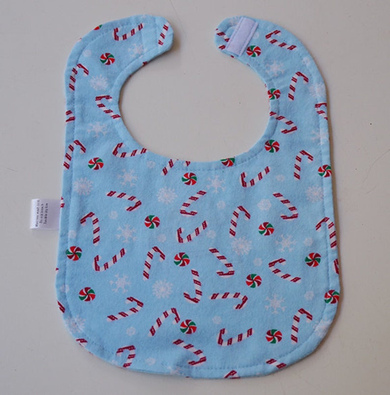 Snowman Dress Up Bib Blue Flannel Fabric Candy Canes Peppermint Christmas Toddler Baby Gift Baby Shower Flannel backing Absorable Reversible