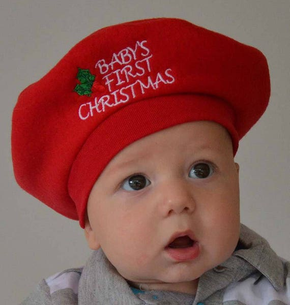Baby Christmas Hat Babys 1st Christmas French Beret By  fff92d10ca8