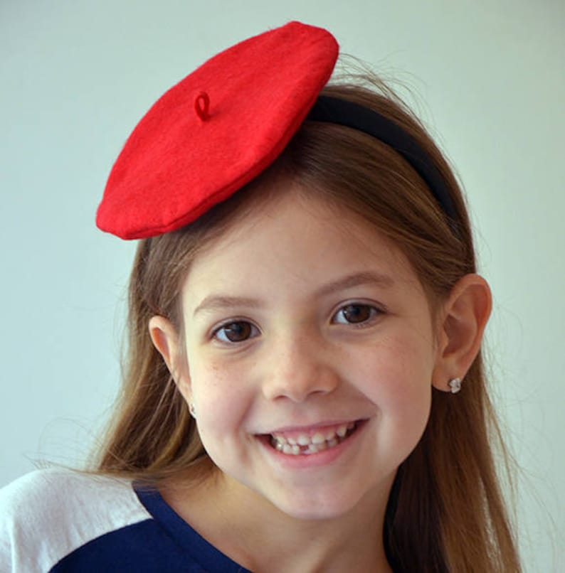 Girls Felt French Beret Headband CHOOSE COLOR Photo Prop  a9926e45d79